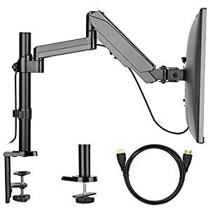 Single Arm Monitor Mount Stand, Fully Adjustable Desk VESA Mount with Clamp, Grommet Base, HDMI Cable for LCD LED Screens up to 32 inch, Gas Spring Articulating Full Motion Arm Holds up to 17.6lbs