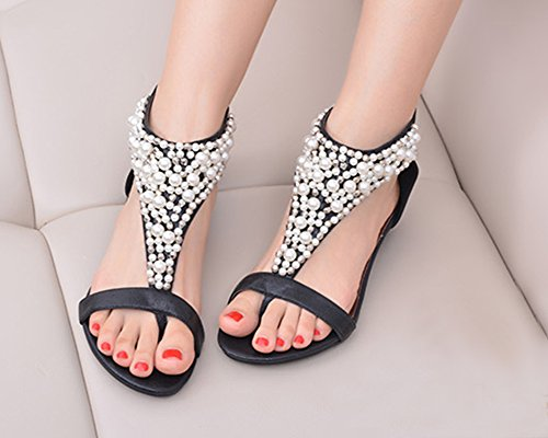 Mujer Bohemia T-Correa Plana Sandalias Diamante De Imitación Zapatos Con Cuña Negro