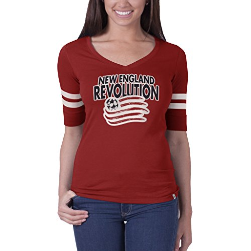 MLS New England Revolution Women's '47 Brand Flanker Stripe Tee, Rescue Red, Large (Revolution Stripe)