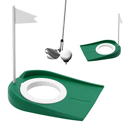 Tbest Plastic Golf Putting Cup with Adjustable Hole White Flag Indoor Outdoor Practice Training Aids (Golf Plastic Putting Cup)