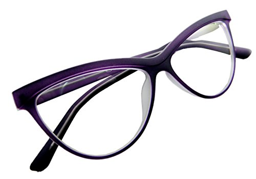 Circleperson Women Cat eye glasses Plastic middle size W clear lens (Purple w gray, Clear)