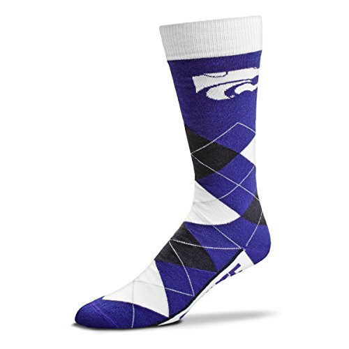 For Bare Feet NCAA Argyle Lineup Unisex Crew Dress Socks-One Size Fits Most-Kansas State Wildcats