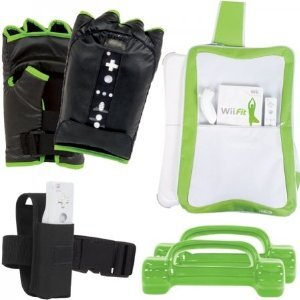 Intec Wii Fit Workout 6 piece Kit Boxing (Boxing Gloves, Dumbbells, Wii Remote Holder Workout Belt and Travel (Intec Holder)