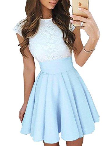 Ninimour Women's Trendy Splicing High Waist Pleated Lace Mini A-Line Dress Sky Blue S