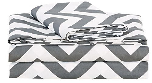Chezmoi Collection 4-piece Chevron Zig Zag Patterns Sheet Set (Queen, Grey) (Set Chevron Grey Bed)