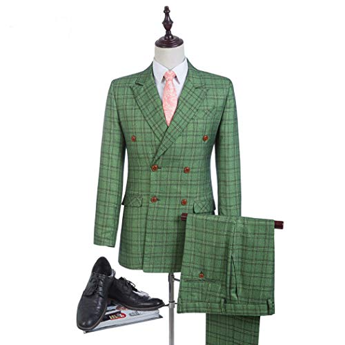 2018 Best Men Green Double Breasted Man Suits Groom Tuxedos Glen Plaid Groomsman Suit Man Clothes Tweed Suits (Jacket+Pants+Vest) MA005 (XXXL, Picture Color)
