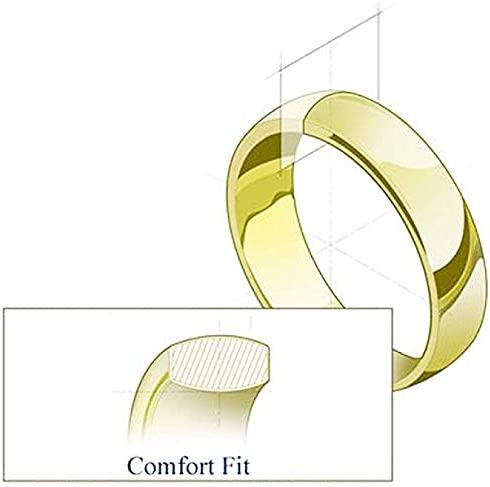 14K Two Tone White and Yellow 6.5mm Gold Center Stripe Mens Wedding Band