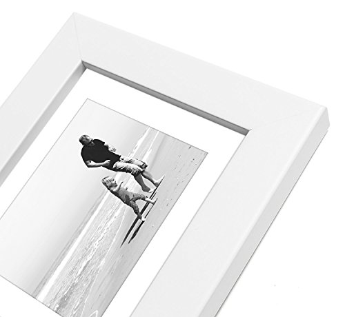 4x6 White Picture Frame - Made to Display Pictures 3x4 with Mat or 4x6 Without Mat - Glass Front, Easel Back, Ready to Display on Desktop or Hang