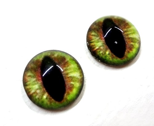 16mm Glass Cat Eyes Green and Brown Dragon Cabochons for Fantasy Art Doll Taxidermy Sculptures or Jewelry Making Crafts Set of 2
