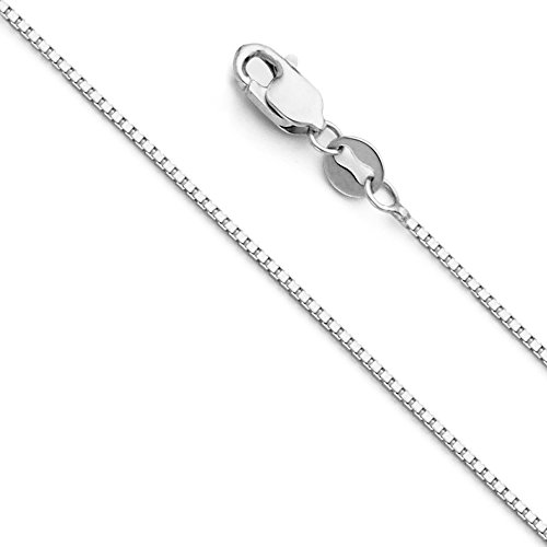 14k White Gold SOLID 0.9mm Box Link Chain Necklace with Lobster Claw Clasp - 18
