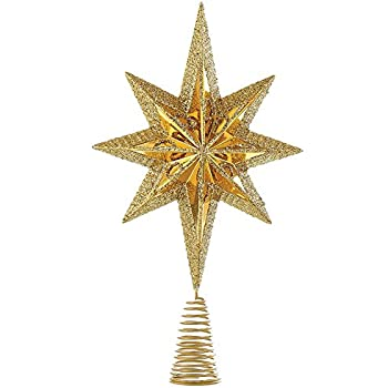 christmas star mini tree topper star burst inch gold home kitchen. Black Bedroom Furniture Sets. Home Design Ideas