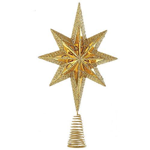 Christmas Star Mini Tree Topper Star Burst 6.75 inch GOLD