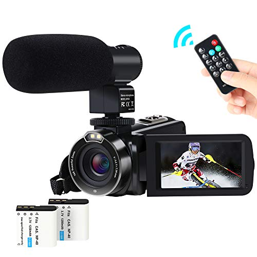 Video Camera Camcorder Digital YouTube Vlogging Camera Recorder FHD 1080P 24.0MP 3.0 Inch 270 Degree Rotation Screen 16X Digital Zoom with Microphone, Remote Controller and 2 Batteries for Sports ()
