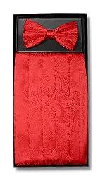 Cumberbund & BowTie RED Color PAISLEY Design Men\'s Cummerbund Bow Tie Set