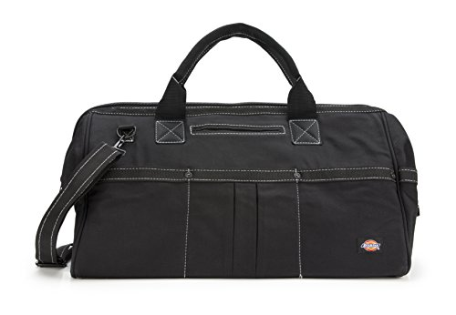 Dickies 20-Inch Durable Canvas Work Bag for Painters, Carpenters, and Builders, Heavy-Duty Zipper, Reinforced Handles, Exterior Pockets, Shoulder Strap, Black