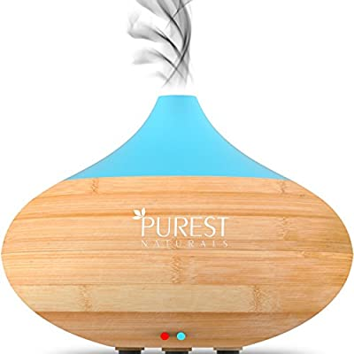 Purest Naturals Essential Oil Diffuser - Best Cool Mist Electric Aroma Spa Ultrasonic Aromatherapy Humidifier - Auto Shut-Off & 7 Color LED Lights (Upgraded 2017 Model)