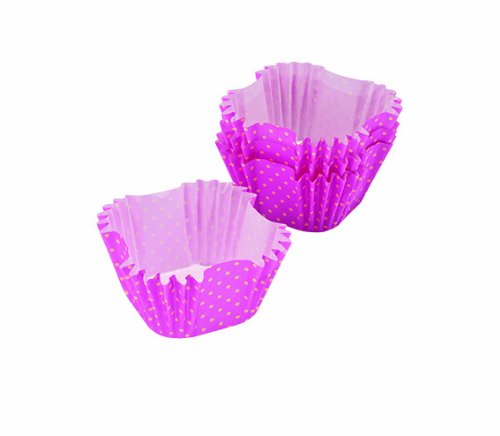 Chicago Metallic Marshmallow Collection Square Paper Treat Liners, Pink Polka Dot, Set of 50