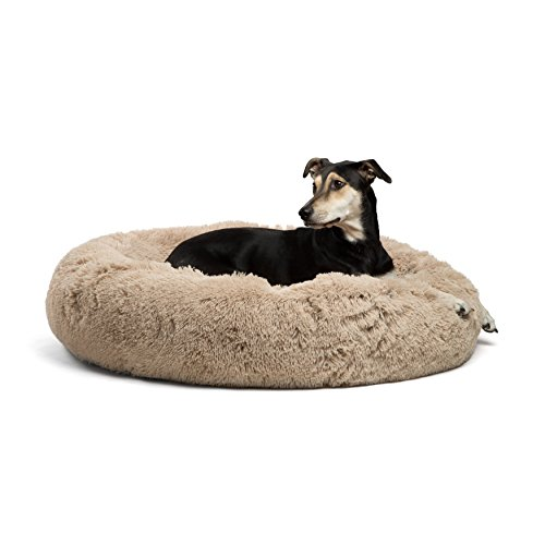 Best Friends by Sheri Calming Shag Vegan Fur Donut Cuddler (36x36, Zippered') - Large Round Donut Cat and Dog Cushion Bed, Removable Shell, Warming and Cozy for Improved Sleep - For Pets Up to 100 lbs