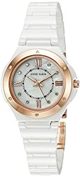 Anne Klein Women's AK/2198RGWT Crystal Accented White Ceramic Bracelet Watch