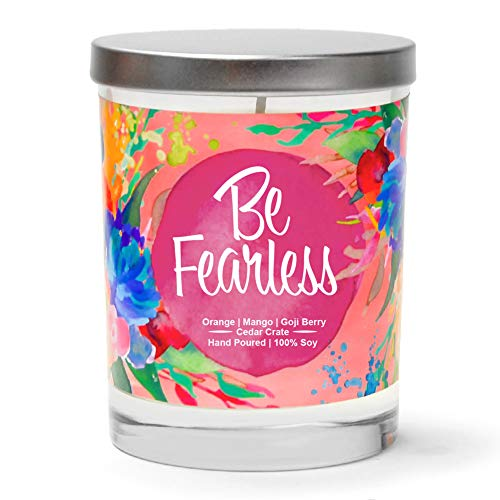 Be Fearless | Orange, Mango, Goji Berry | Luxury Scented Soy Candles |10 Oz. Clear Jar Candle | Made in The USA | Decorative Aromatherapy | Unique Gifts for Women - Soy Candle Inspiration Soy