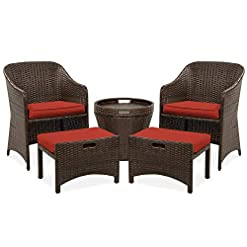 Garden and Outdoor Best Choice Products 5-Piece Outdoor Wicker Bistro Set Multipurpose Furniture for Patio, Yard, and Garden w/ 2 Chairs, 2…
