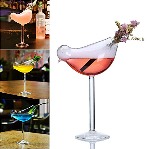 - Set of 2 Wine Glass Bird-Shaped Cocktail Glass, Champagne Goblet Whiskey Beer Drinking Cup, 200 ML