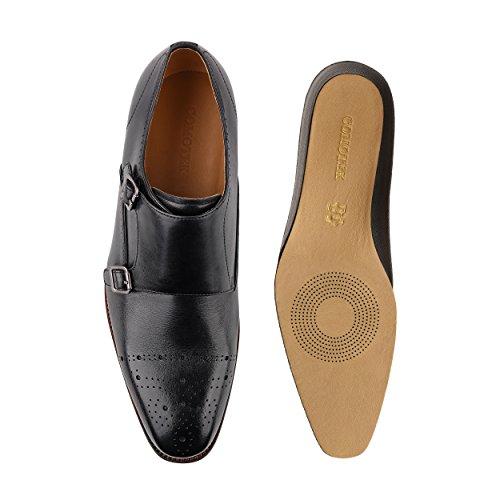 COMOTEK Men's Classic Double Monk Strap Full Grain Leather Shoes,2018 Design-Adroit Black US10