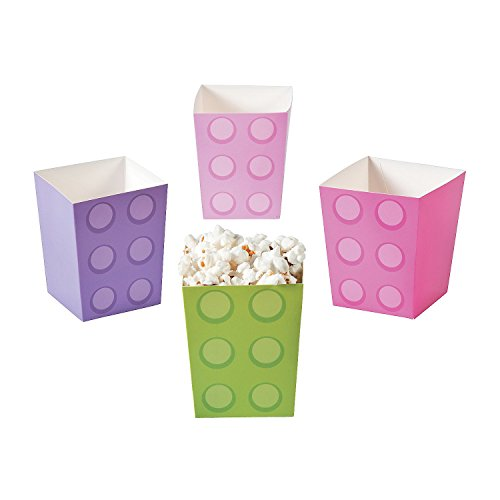 Pastel Color Brick Party Popcorn Boxes for Girls Birthday - Party Supplies - Containers & Boxes - Paper Boxes - Birthday - 24 Pieces -