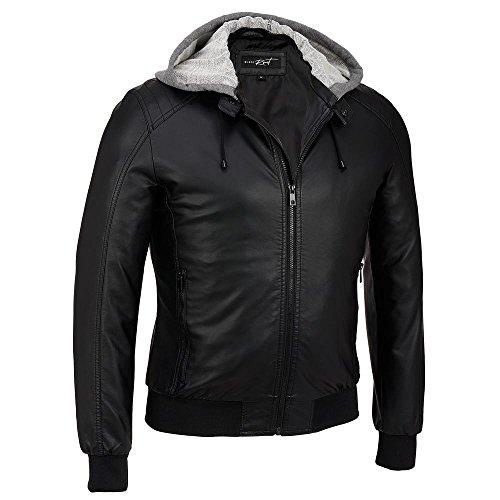 Black Rivet Mens Faux-Leather Hooded Knit Bomber L Black