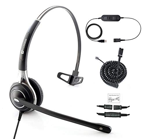 TruVoice HD-700 Premium Corded Single Ear NC Mic Headset With USB and U10P Cable works with Mitel, Polycom VVX, Nortel, Avaya, Shortel, Aastra, Analog Deskphones and PC (Softphone) - Complete Solution