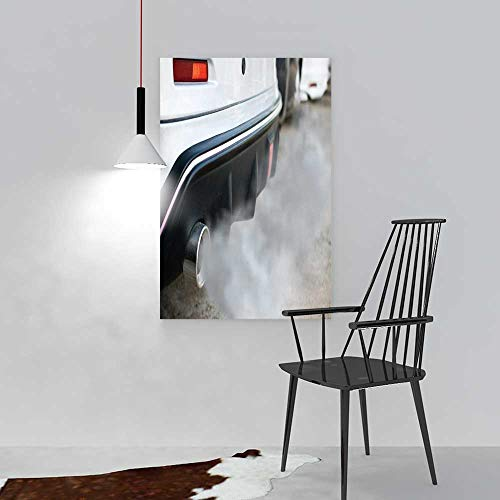 aolankaili Hanging Wall Decoration Painting Combustion Fumes Coming Out of car Exhaust Pipe for Living Room Office Hotel Frameless W24 x H36 -