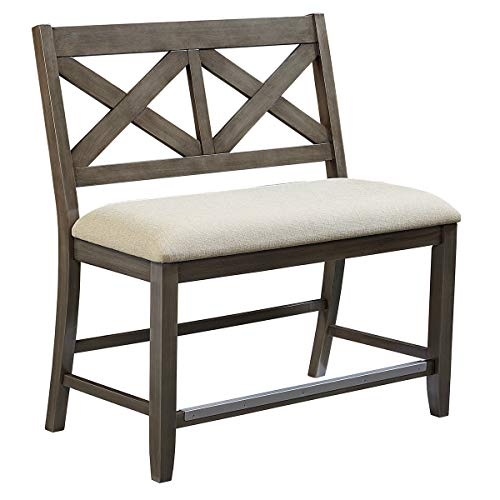 Standard Bench Height - Standard Furniture 16699 Omaha Counter Height Bench with Upholstered Seat, Grey