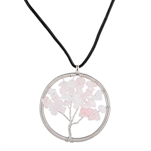 Swyss Natural Gemstone Healing Tree Pendant Necklace Charming Handmade Gifts Chic Jewelry Accessories New (Pink) -