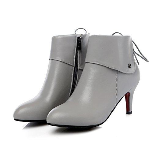 Lucksender Heel Ankle High High Grey Zip Womens Boots Dress x16qnvSwx