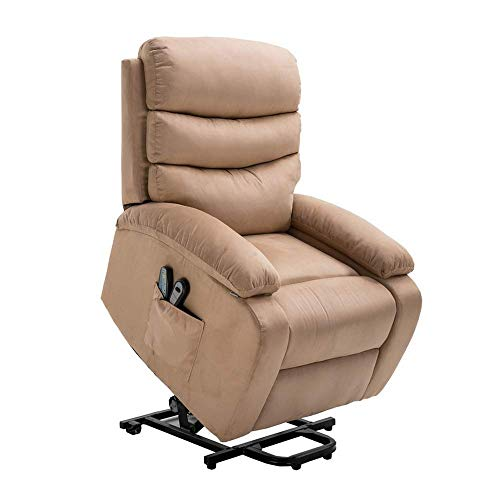 Homegear Microfiber Power Lift Electric Recliner Chair with Massage, Heat and Vibration with Remote Taupe (Renewed)