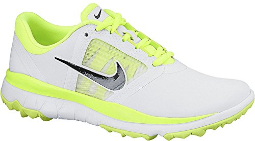 NIKE Golf Women's Fi Impact Golf Shoe, White/Neon Green, 5 B(M) US