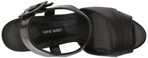 Sandalo Con Tacco In Pelle Ibyn In Pelle Nera Delle Nove Donne Occidentali