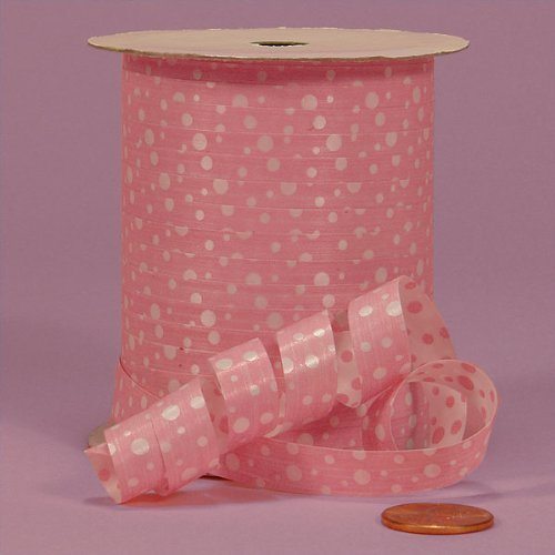 Pink Polka Dots Curling Ribbon, 3/8