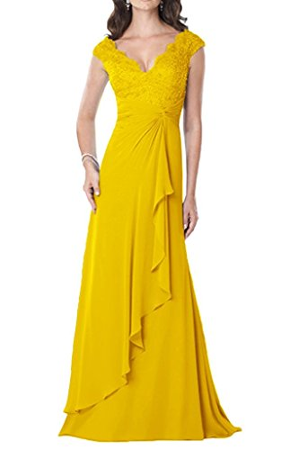 VaniaDress Women V Neck Ruffles Long Evening Dress Prom Gowns V234LF Gold Yellow US2