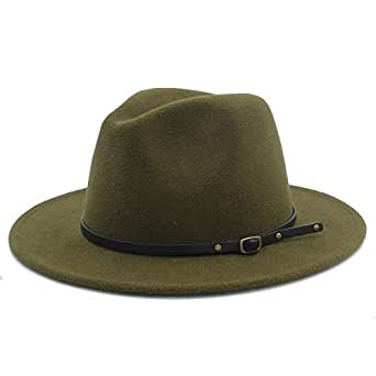 SHENTIANWEI Men Women Winter Wool Fedora Hat Panama Jazz Hat Wide Brim Fascinator Church Hat Size 56-58CM (Color : Army Green, Size : 56-58)
