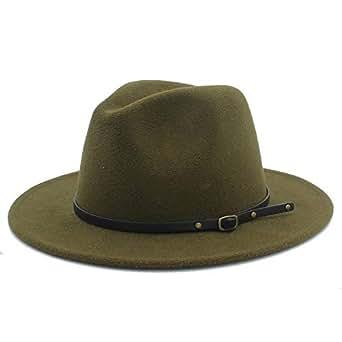 SHENTIANWEI Men Women Winter Wool Fedora Hat Panama Jazz Hat Wide Brim Fascinator Church Hat Size 56-58CM (Color : Army Green, Size : 56-58)