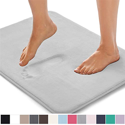 Gorilla Grip Original Thick Memory Foam Bath Rug (30×20) Cushioned, Soft Floor Mats, Absorbent Kids Bathroom Mat Rugs, Machine Wash + Dry, Luxury Plush Comfortable Carpet for Bath Room (Light Gray)