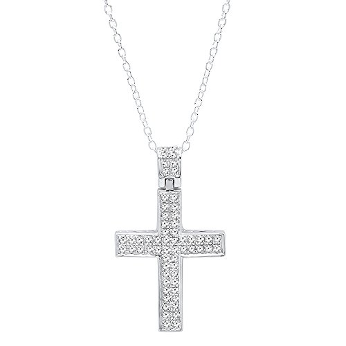 Dazzlingrock Collection 0.35 Carat (ctw) Round Diamond Ladies Cross Pendant 1/3 CT (Silver Chain Included), Sterling Silver (Diamond Pave Necklace Silver)