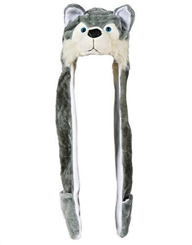 Plush Hat Novelty Cap Animal costume Beanie With Long Paws-Wolf -