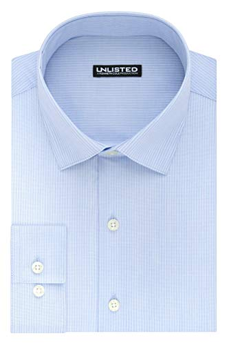 Stripe Shirt Dress (Kenneth Cole Unlisted Men's Dress Shirt Slim Fit Stripe, Light Blue, 15