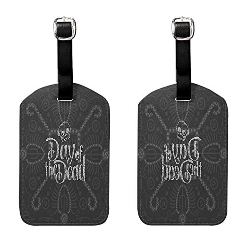 Instrument Tag Day of the Dead,Dia de Los Muertos Theme Hand Lettered Text with Skull Sketch Aztec Style,Grey Coconut Seal & Steel -