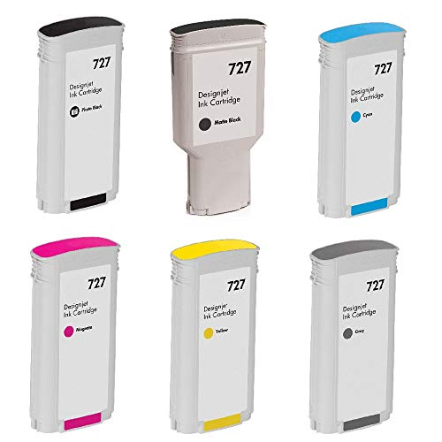 WORLDS OF CARTRIDGES Remanufactured Ink Cartridge Replacement for HP 727 (6-Pack: Photo Black+ Matte Black + Can + Magenta + Yellow + Gray) for Use in DesignJet T1500 / T2500 - Photo Designjet Matte