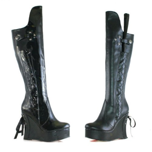 - Ellie Shoes E-475-Sadie 4 Heel Knee Boot 5 / Black Shiny