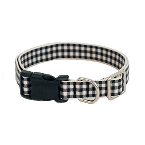 Gingham Luxury Dog Collar- Black Large