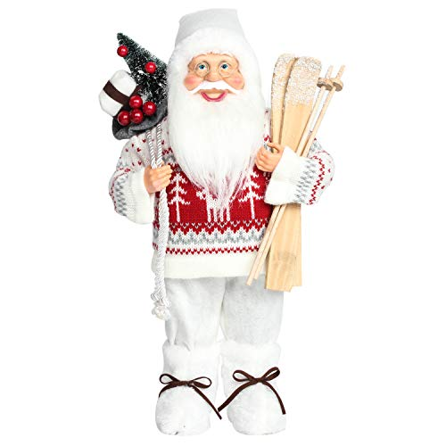 Costyleen Christmas Santa Claus Figurine Decoration Large Size Ornament Enjoyable Gift Doll Toy Table Decor Festival Present - Standing 17'' Sweaters